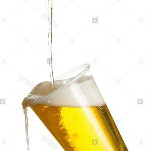 Vector Spilled Pint Glass: Stock Photo Pouring Lager Beer Into A Plastic Disposable Pint Glass Spilling Out