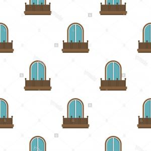 Arched Window Vector Png: Stock Photo Retro Balcony With An Arched Window Pattern Flat