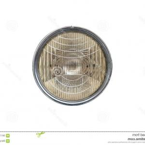 Vector Round Headlight: Round Car Headlights With Light Effect Glowing Lamps On Transparent Background Image