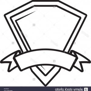 Shield Vector Ribbon: Stock Photo Shield Premium Badge Ribbon Outline Empty Vector Illustration Eps