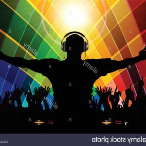 Vector DjDecks: Stock Photo Silhouette Of A Dj And Crowd With Record Decks Over Multicoloured