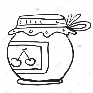 Jelly Jar Clip Art Vector: Stock Photo Simple Black And White Cherry Jam Jar Cartoon