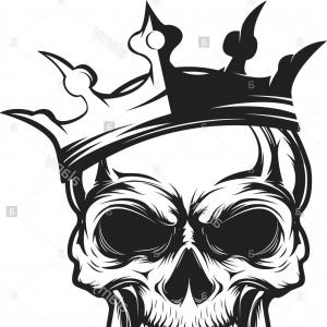 Skull Vector T-shirt Illustration: Stock Photo Skull With Crown Design Element For Emblem Badge Sign T Shirt Print