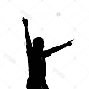 Holding Hands Up Silhouette Vector: Abstract Man Silhouette Excited Hold Hands Up Vector