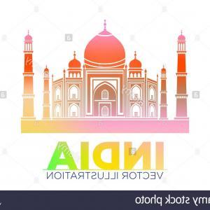 Taj Mahal Vector: Stock Photo Taj Mahal Vector Symbol Design Red Color Polygonal Mosaic Stylemonument