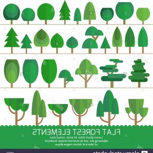 Vector Sprites: Stock Photo Trendy Set Of Different Trees And Other Natural Objects Sprites For