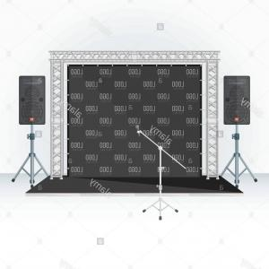 Speakers Vector Black: Stock Photo Vector Black Color Flat Style Low Conference Stage Press Wall Banner