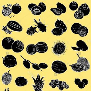 Fruit Silhouette Vector: Stock Photo Vector Illustration Of Tropical Fruits In Silhouette Mode On Yellow