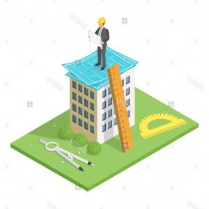 Residential Blueprints Vector: Stock Photo Vector Isometric D Illustration Of City Building With Blueprints