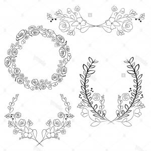 Vector Flower Wreaths In Black: Stock Photo Vector Wreaths And Laurel Wreaths Round Flower Vector Frames