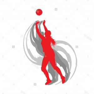 Motion Basketball Vector: Stock Photo Volleyball Player Woman In Red Color Vector Background Fast Motion