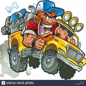 Hillbilly Vector: Stock Photo Wild Crazy Redneck In Pickup Truck With Trucker Hat Red Hair Beard