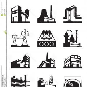 Industrial Vector Art: Air Pollution Industry Buildings Factory And Enterprise Vector Clipart