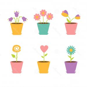 Flower Pot Vector Graphics: Indoor Outdoor Landscape Garden Potted Plants