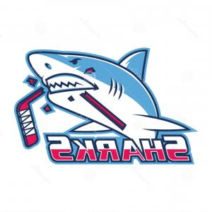 EPS Format Vector Fishing Decals: Stock Photos Emblem Shark Bites Hockey Stick Illustration Format Eps Image