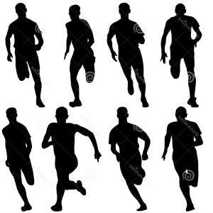 Road Runner Vector: Stock Photos Set Silhouettes Runners Sprint Men Vector Image