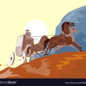 Stagecoach Vector Art: Stock Vector Black Retro Stagecoach