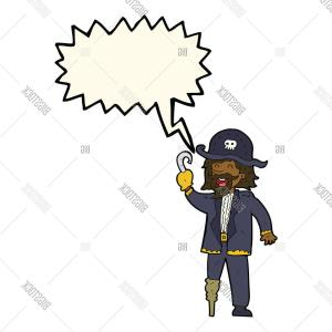 Cartoon Pirate Vector Art: Stock Vector Cartoon Pirate Captain With Speech Bubble