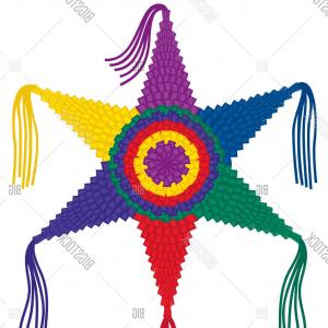 5 Point Star Vector Art: Stock Vector Colorful Six Point Pinata