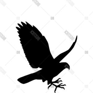 Falcon Silhouette Vector: Stock Illustration Black Flying Eagle Spread Wings Heraldic Icon Sign Vector Symbol Falcon Hawk Emblem Predatory Bird Catching Image