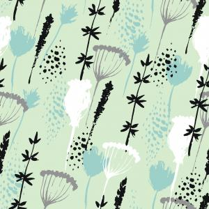 Grass Flower Vector Pattern: Stock Vector Grass And Flowers Abstract Background