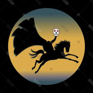 Headless Scary Halloween Skeletons Vectors: Stock Vector Headless Horseman Holding Skull