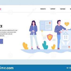 Vector Insurance Cover Page: Stock Vector Insurance Horizontal Banner Page Title Cut Tabs Effect