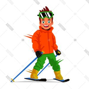 Skier Vector: Stock Vector Little Happy Skier Vector Illustration On White Background Sports Concept