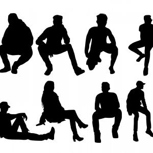 Vector People Sillhouettes: Stock Vector People Foregrounds