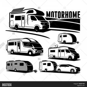 Vector Art RV Motorhomes: Stock Vector Rv Cars Recreational Vehicles Camper Vans Caravans Vector Icons