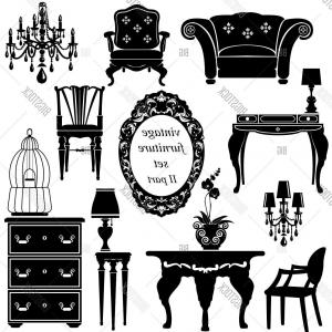 Vector Vintage Chair: Stock Vector Set Of Antique Furniture Isolated Black Silhouettes