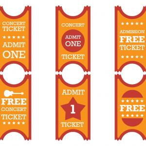 Concert Ticket Vector: Stock Vector Set Of Colorful Concert Tickets With Musical Notes