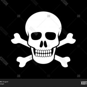Skeleton Fist Vector: Stock Vector Skull And Crossbones On Black Background