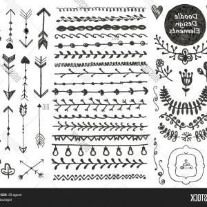 Arrow Border Frame Vector: Vector Monochrome Ethnic Set With Arrows Feathers Crystals Floral Frames Borders Gm
