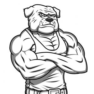 Standing Bulldog Vector: Strong Muscle Aggressive Bulldog Vector
