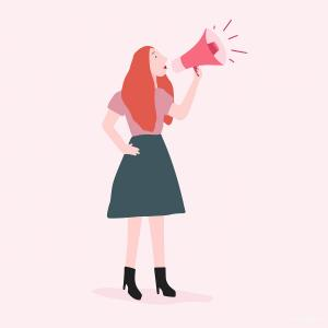 Feminine Vector Art Hair: Strong Woman Shouting Out Her Message Vector