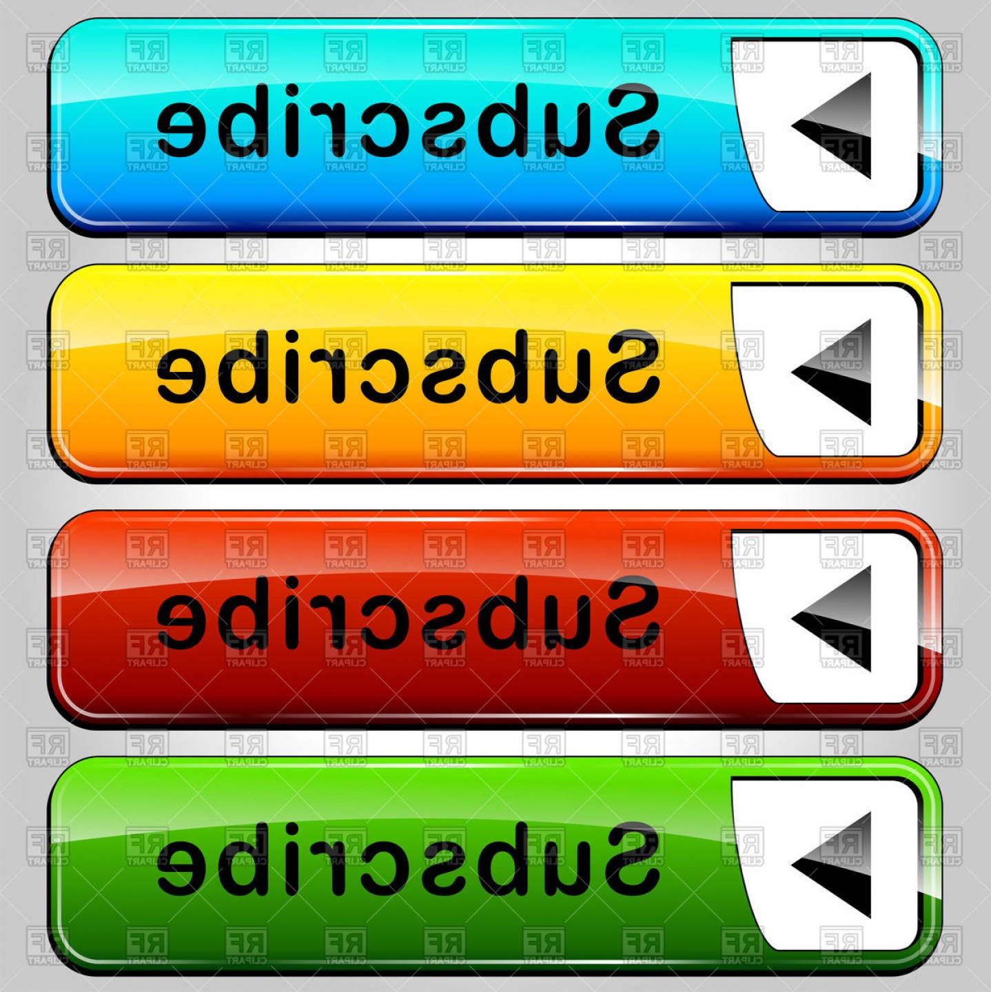 Web Buttons Vector: Subscribe Glossy Web Buttons Vector Clipart