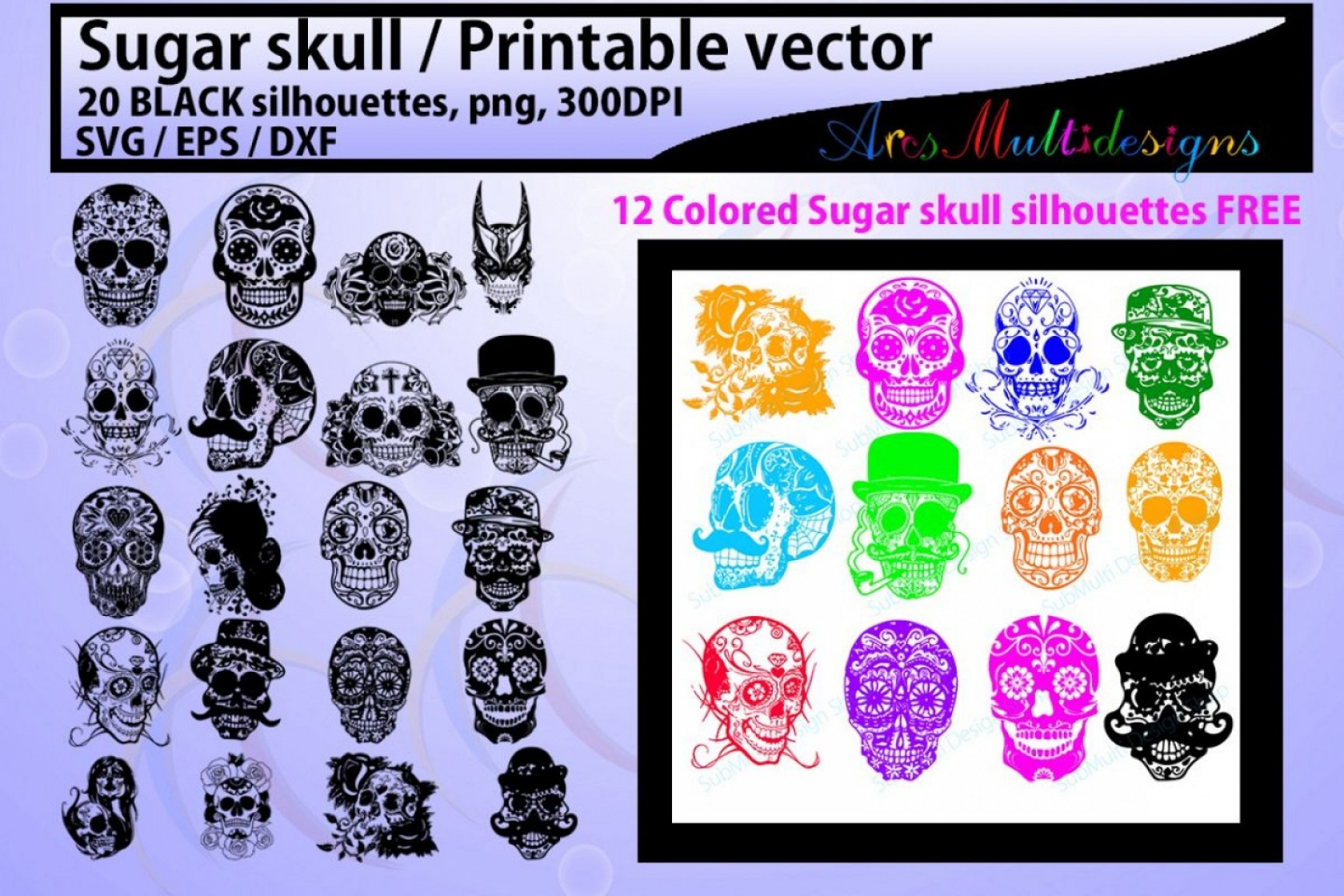 Harley-Davidson Flame Vector Silhouette: Sugar Skull Silhouette Sugar Skull Sugar Skull Svg Eps Dxf Vector Skull Png Colored Hq Colored Skull Silhouette Svg