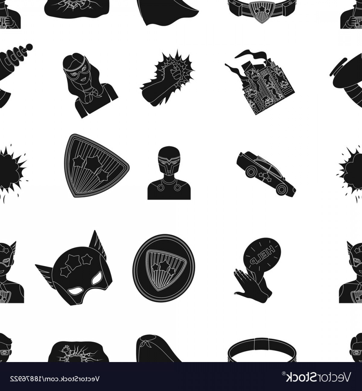 Superman Black And White Vector: Suit Sign Superman And Other Web Icon In Black Vector