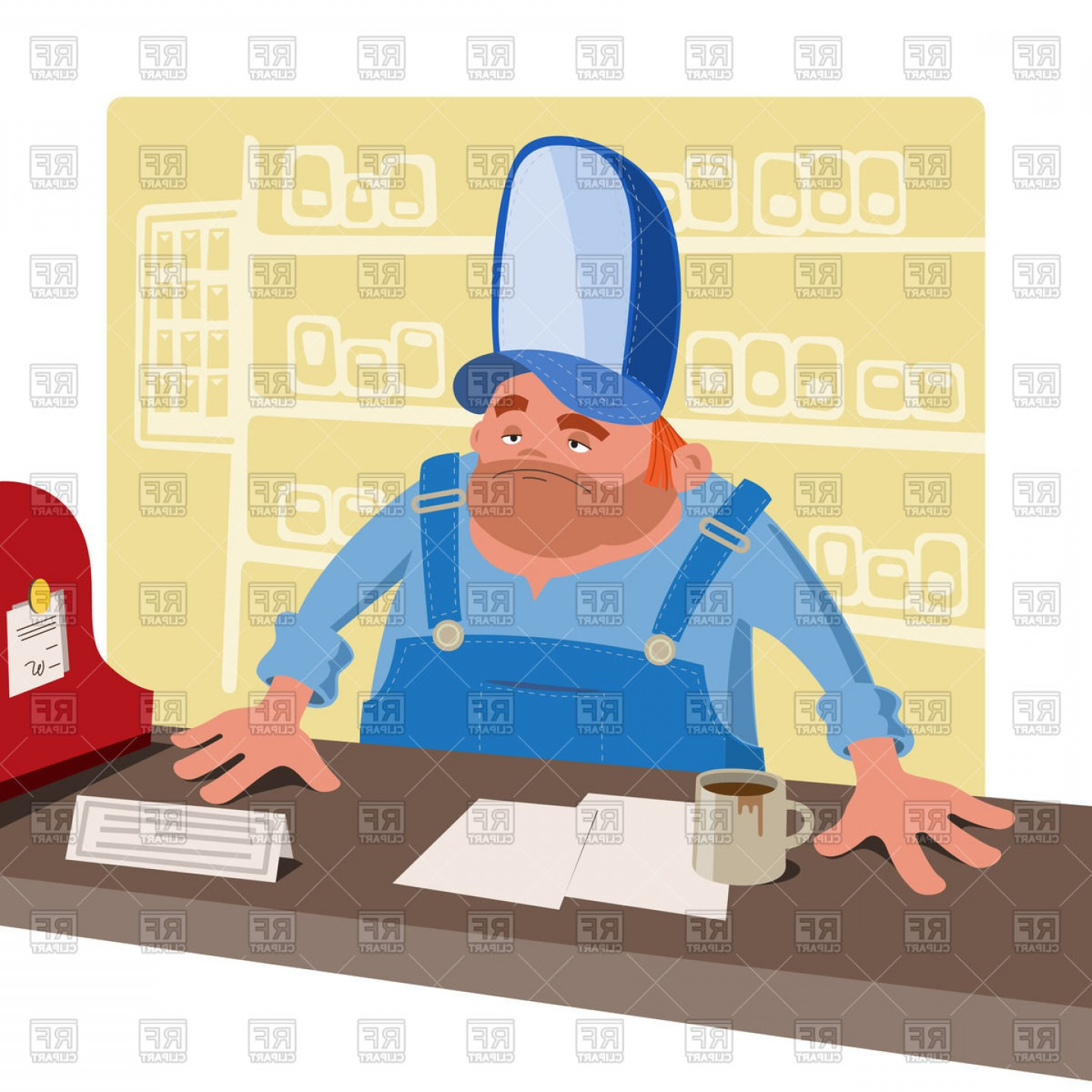 Redneck Family Vector Graphic: Sullen Cashier Stands Behind The Desk Vector Clipart