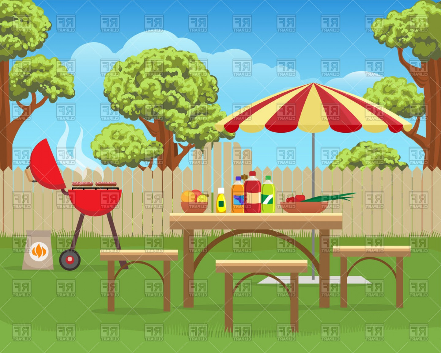 Picnic Vector Scenery: Summer Backyard Fun Bbq Or Grilling Barbecue Vector Clipart