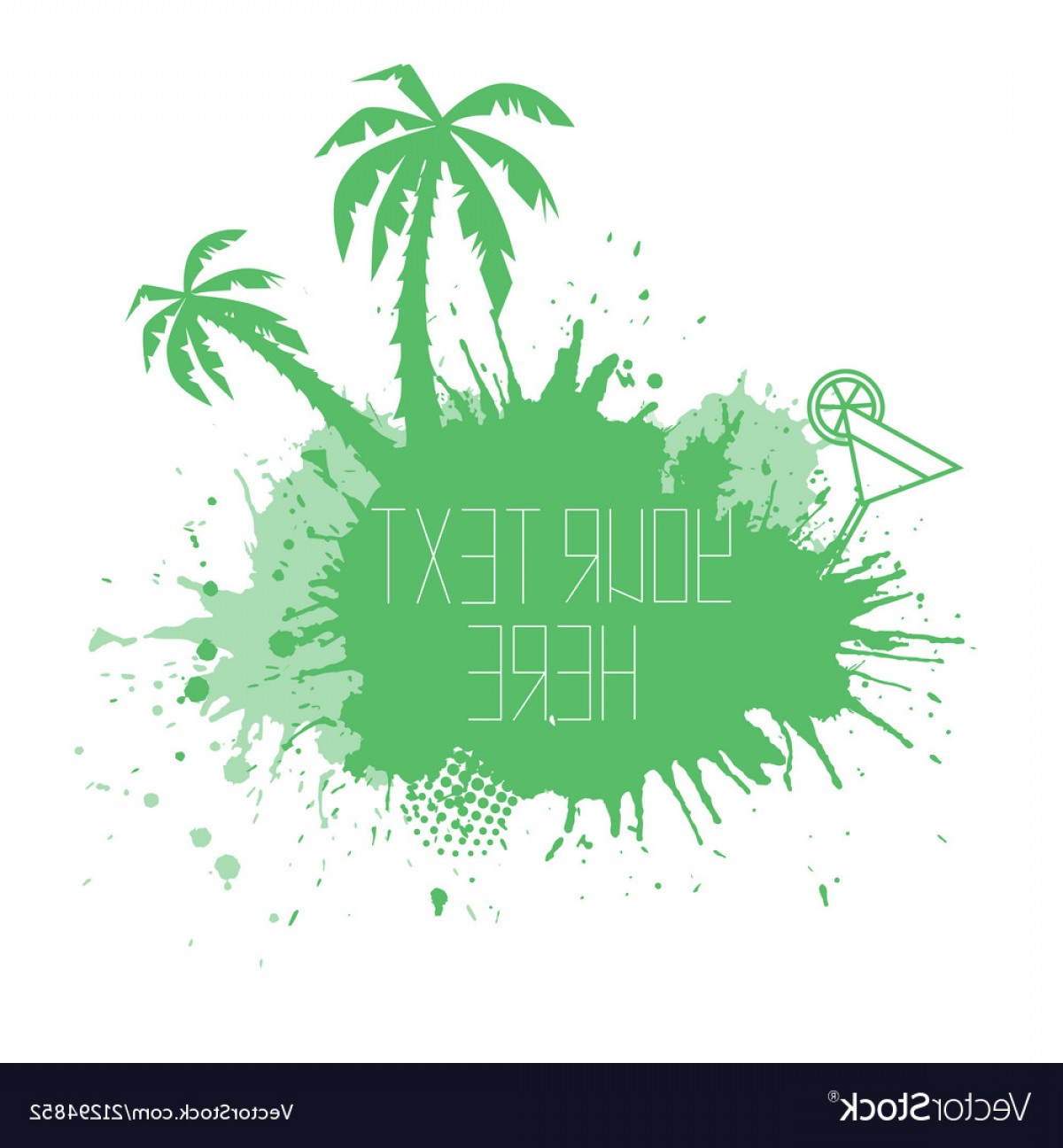 Watercolor Palm Tree Vector: Summer Banner With Watercolor Splashes Palm Trees Vector