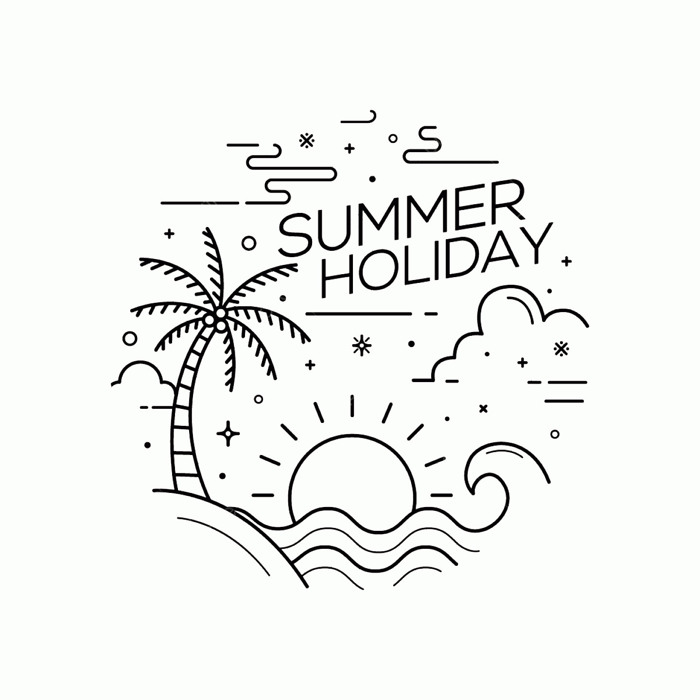 Symbol Vector Clip Art: Summer Holiday Flat Style With Line Art Vector Illustration