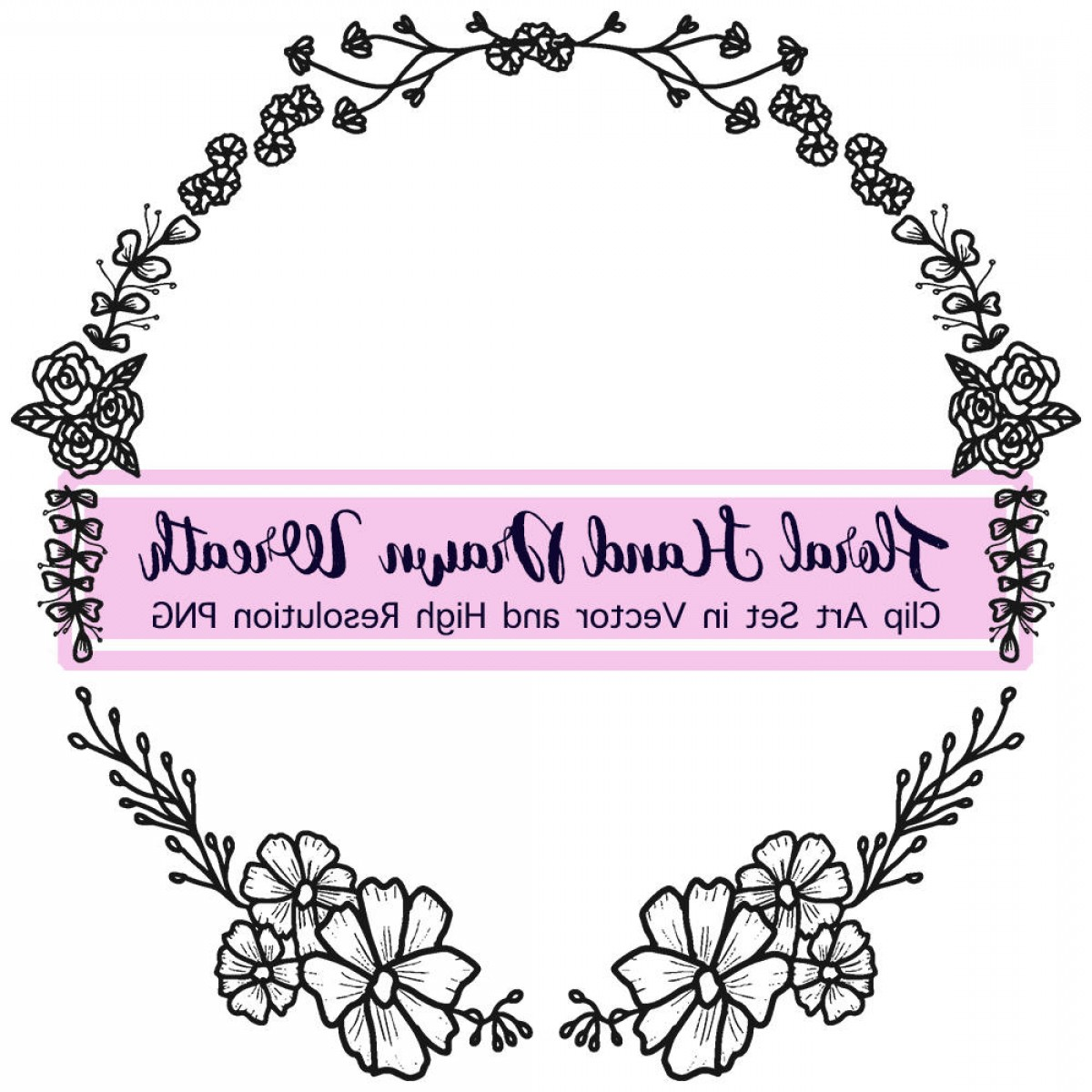Floral Laurel Wreath Vector: Summer Laurel Wreath Vector Hand Drawn