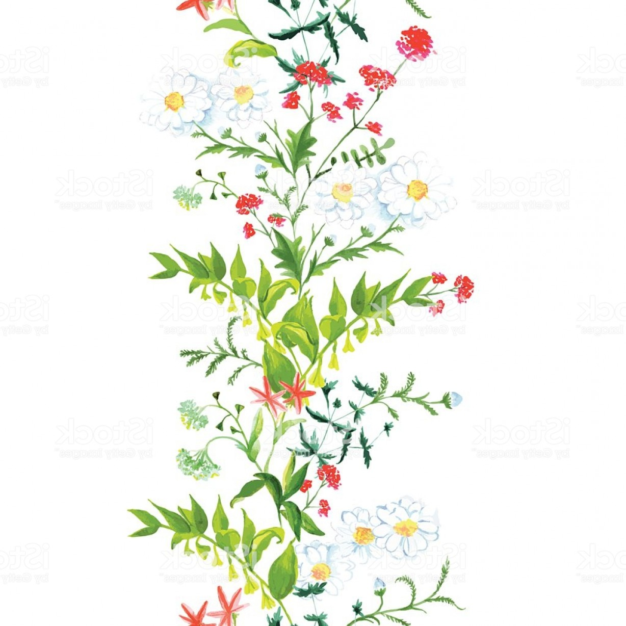 Vector Flower Band: Summer Meadow Floral Seamless Vertical Vector Band Gm