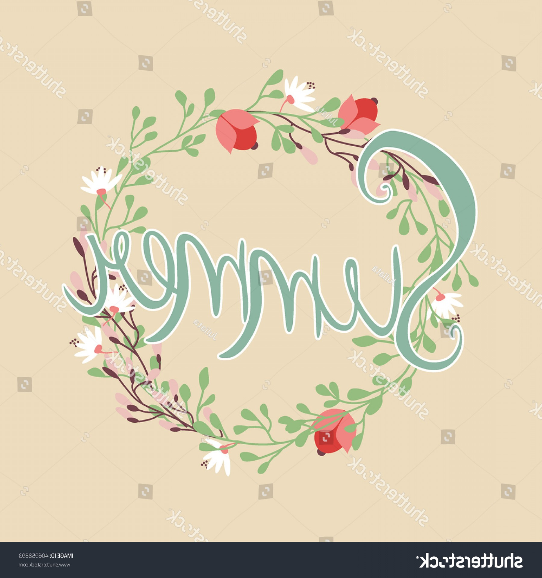 Floral Vector Calligraphy: Summer Quote Inscription Floral Vector Wreath