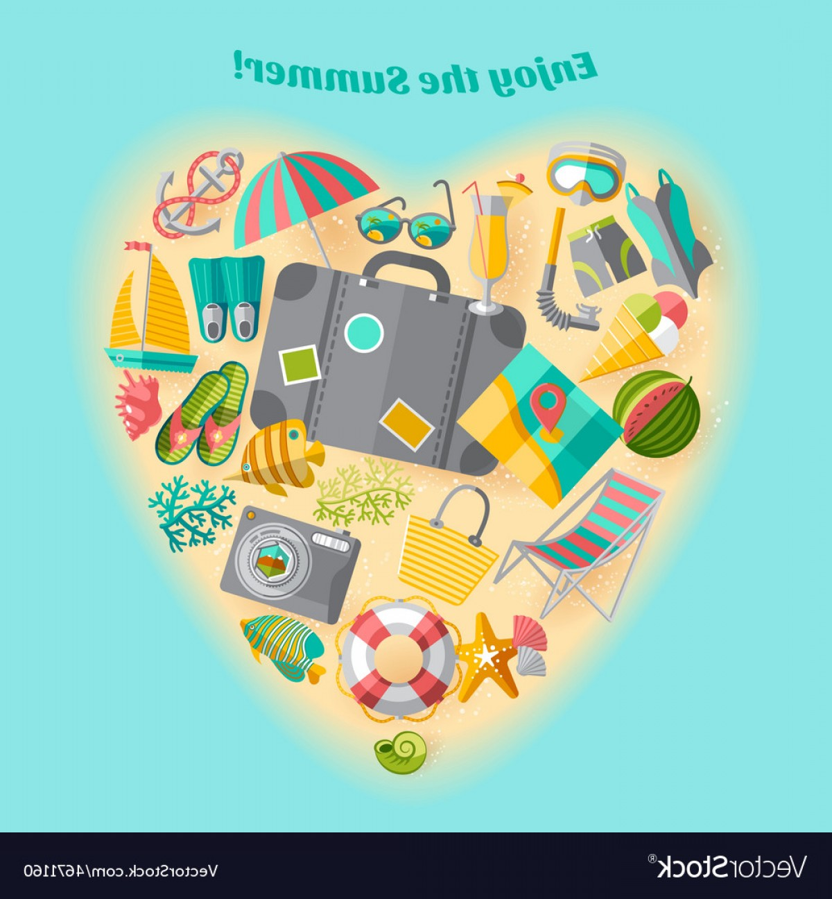 Slanted Heart Vector: Summer Vacation Heart Composition Icon Poster Vector