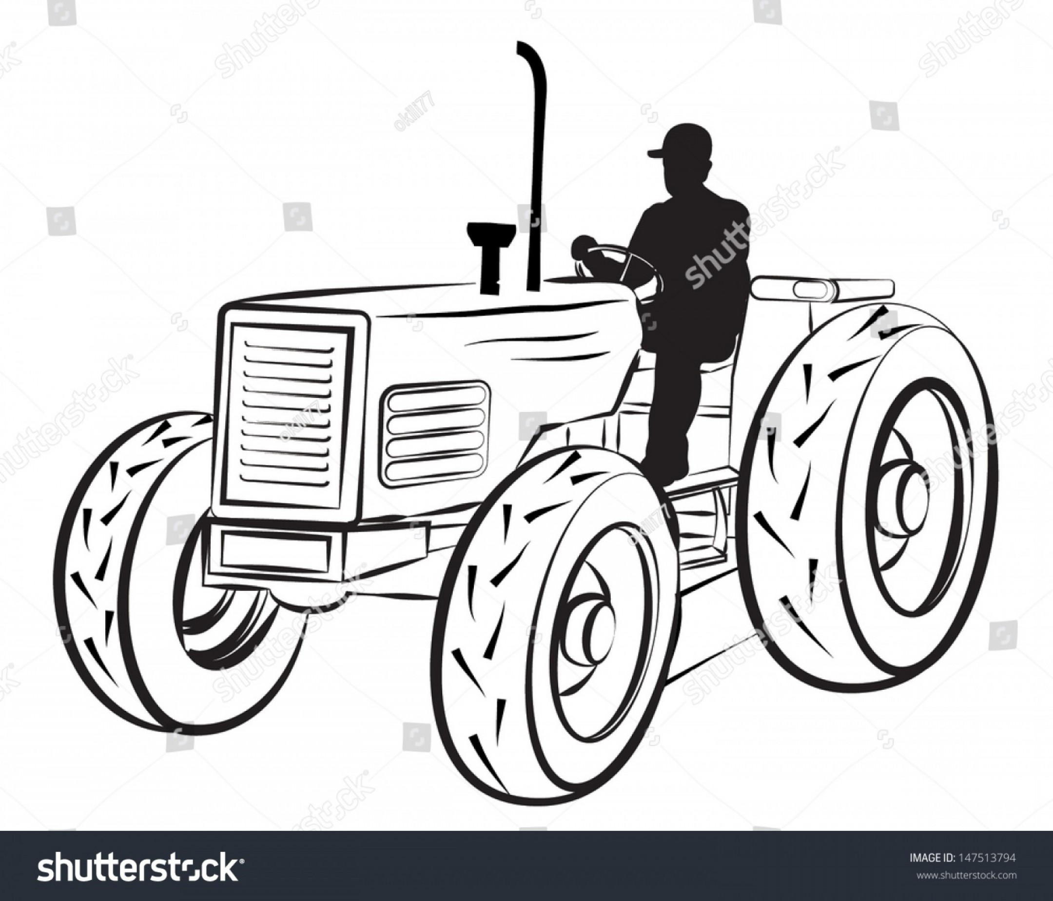 Free Tractor Vector: Sumptuous Tractor Outline Vector Illustration Of A Silhouette On White Image Drawing Clip Art Embroidery Design Printable Free