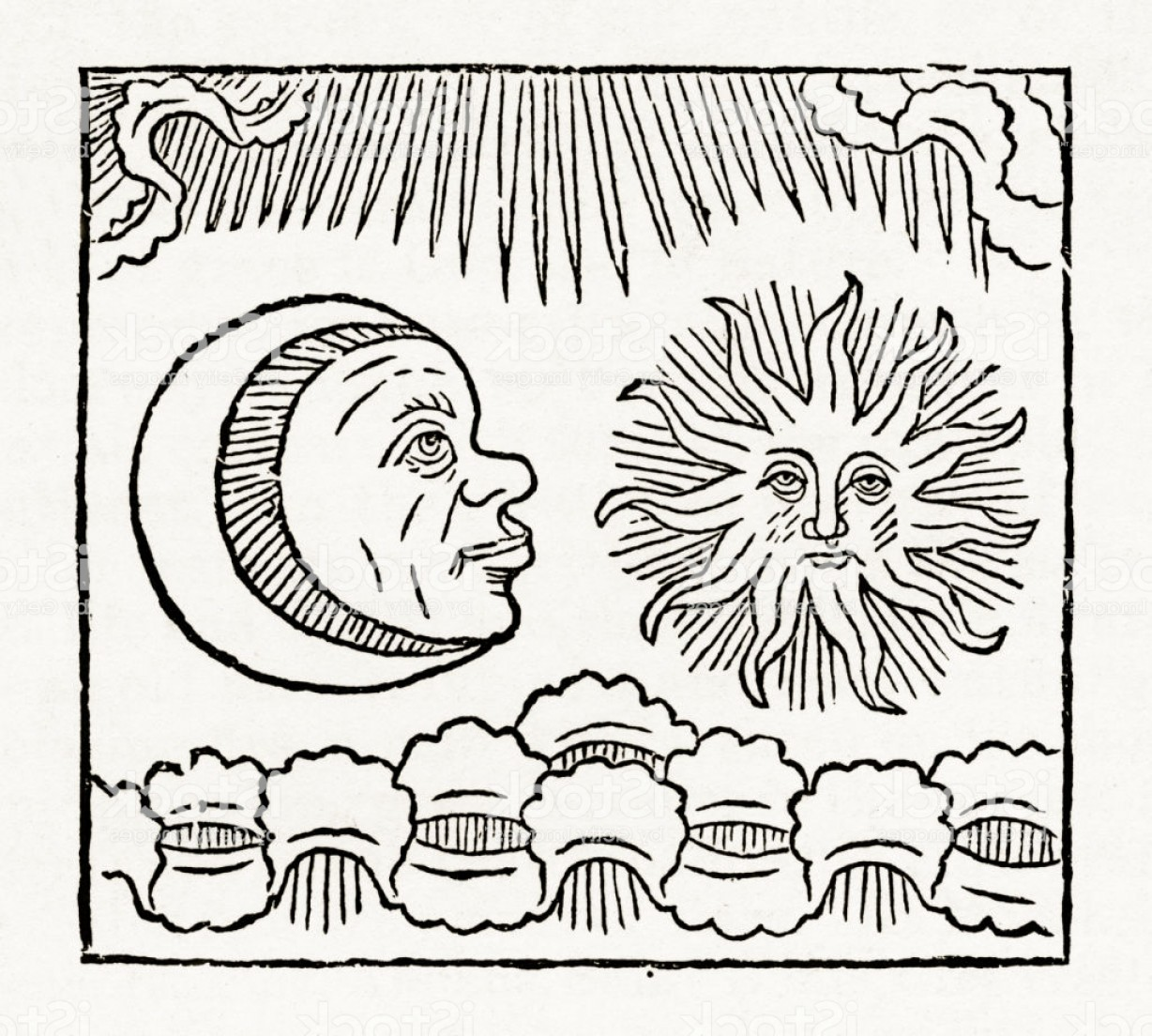 Christian Vector Sun: Sun And Moon Crucifixion Christian Symbolism Engraving Gm