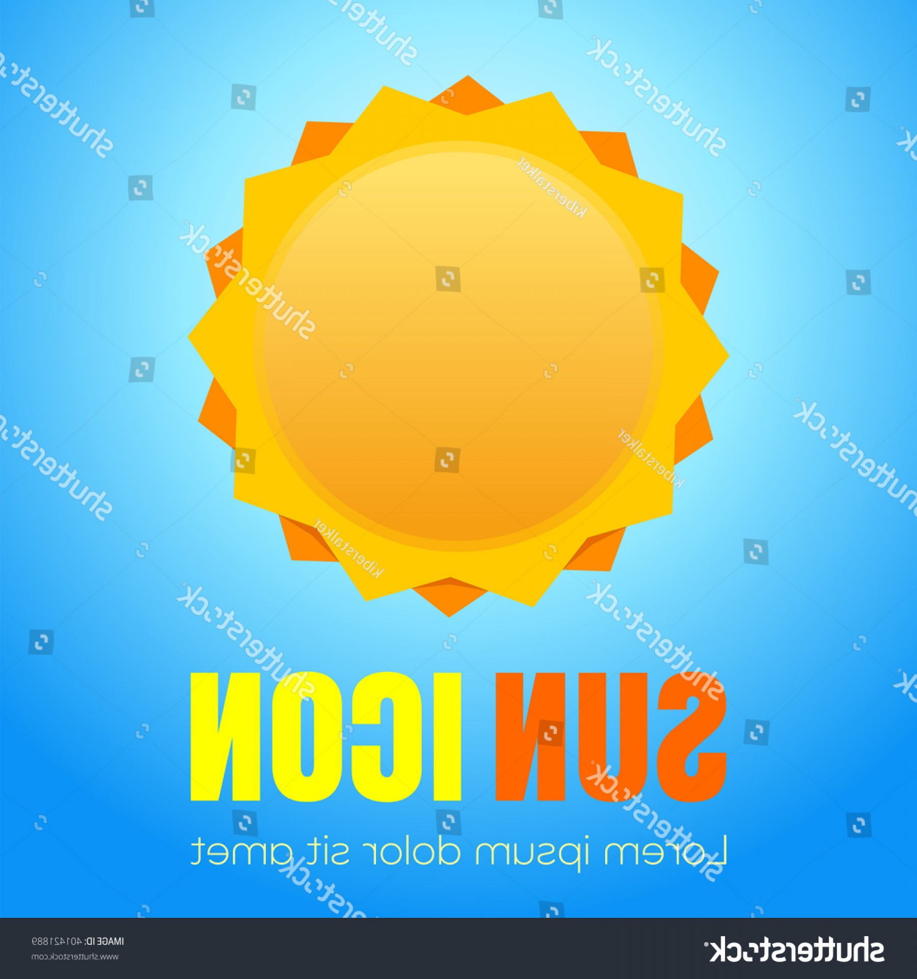 Blue Background Vector Cartoon Sun: Sun Logo Icon Isolated On Sky